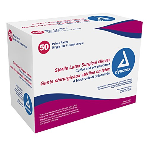 Dynarex Sterile Latex Surgical Glove, Size 7.5, 4 Count