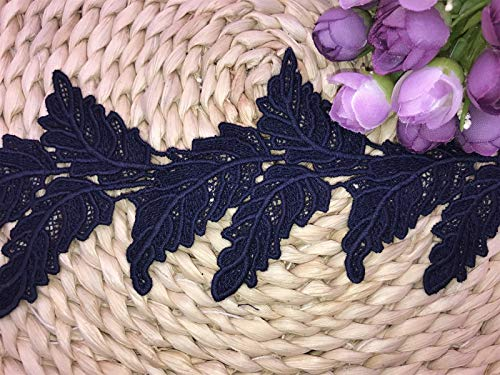 (9.5CM Width Europe Leaf Pattern Inelastic Embroidery Lace Trim,Curtain Tablecloth Slipcover Bridal DIY Clothing/Accessories.(2 Yards in one Package) (Navy)