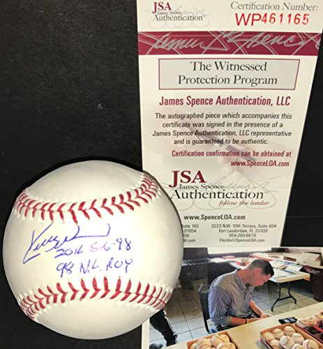 Kerry Wood Chicago Cubs Autographed Signed Official Major League Baseball JSA COA 20K 5-6-98 & 1998 NL ROY