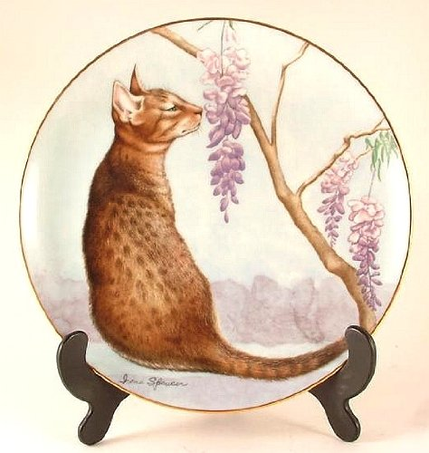 Danbury Mint c1989 cat plate - How Sweet It Is from Cats and Flowers collection - Irene Spencer - CP993 from Danbury Mint
