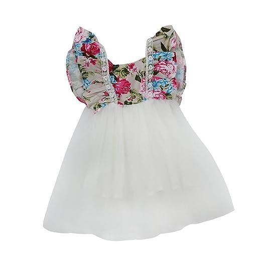 abec72bfb606 Amazon.com  Sunward 2017 Newborn Toddler Baby Girls Floral Dress ...