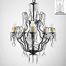"""Crystal Chandelier Lighting Chandeliers W/ Candle Votives H27"""" x W21""""- For Indoor / Outdoor Use! Great for Outdoor Events, Hang from Trees / Gazebo / Pergola / Porch / Patio / Tent !"""