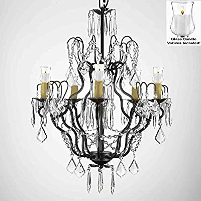 "Crystal Chandelier Lighting Chandeliers W/ Candle Votives H27"" x W21""- For Indoor / Outdoor Use! Great for Outdoor Events, Hang from Trees / Gazebo / Pergola / Porch / Patio / Tent !"