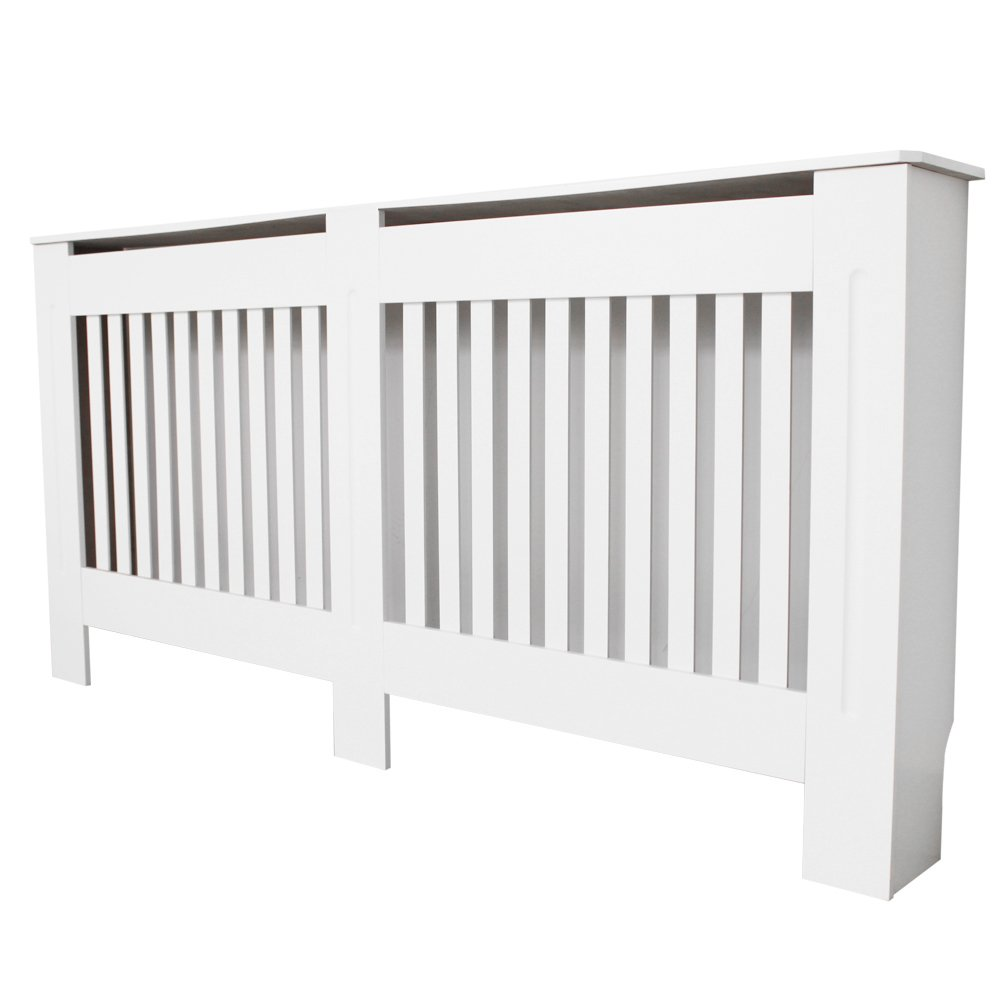 TANBURO Traditional Matte Painted Radiator Cover Cabinet Vertical Slatted White E1 MDF Medium 152 x 19 x 81.5cm