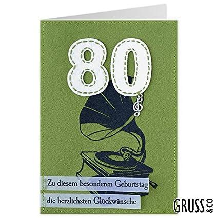 Tarjeta de felicitación - de fieltro para 80 cumpleaños ...