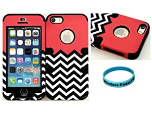 Wireless Fones TM Coral Block Chevron Super Compact Hybrid Cover Case For Iphone 5s 5 on Black Skin (Wireless Fones TM Wristband Included)