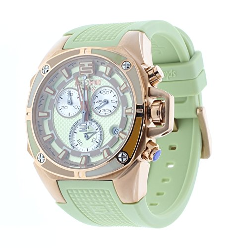 Technosport Swiss Chronograph Pale Green Silicone Strap 38mm Rose Gold Case Women's Watch TS-100-Splash9
