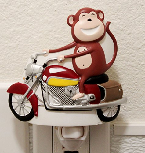 Happy Monkey Riding Bike Nightlight Lamp Candle Kids Rooms Home Decor Birthday Housewarming Congratulatory Blessing Souvenir Gift US Seller
