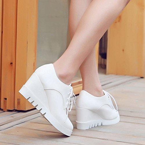 Mee Shoes Damen Durchgängiges Plateau Keilabsatz Schnürhalbschuhe Weiß