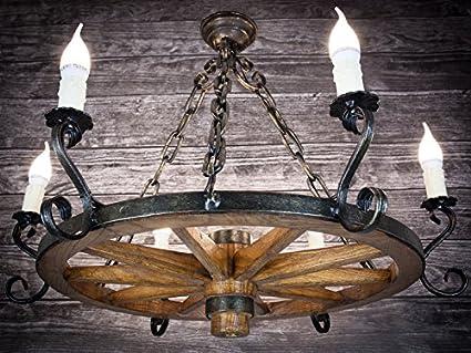 Rueda de madera - Lámpara de techo Rueda de carro Carruaje lámpara de techo antiguo Deko Hotel Posada 606S: Amazon.es: Iluminación