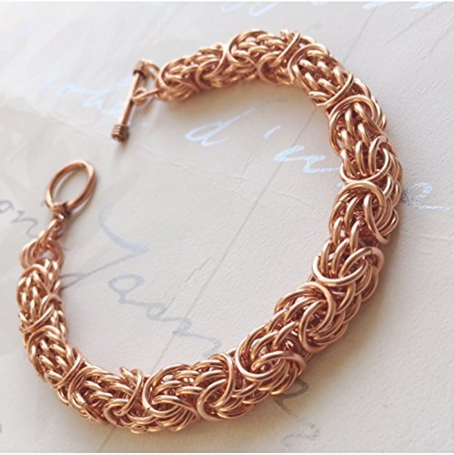 Heavy Copper Bracelet Tryzantine Chain Mail Jewelry