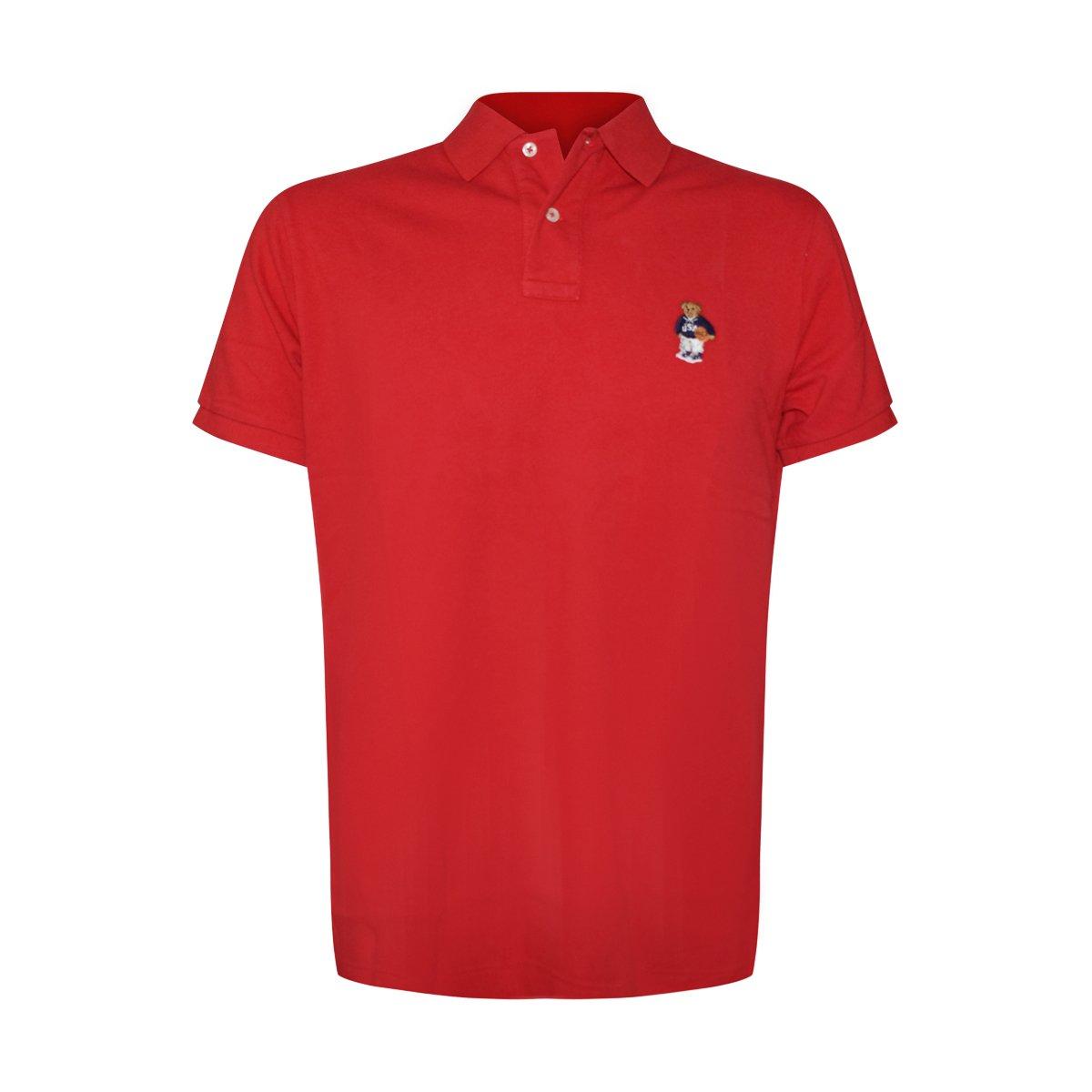a924b0d5a Galleon - Polo Ralph Lauren Men Custom Fit Mesh Polo Shirt Red Basketball  Bear (Medium)