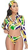 LKOUS 3 Piece Swimsuits Women Summer Beach Sexy Long Sleeve Crop Top and Bodycon High Waist Shorts Outfits Bikini Sets