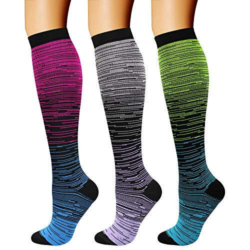 CHARMKING Compression Socks (3 Pairs) 15-20 mmHg is Best Athletic & Medical for Men & Women, Running, Flight, Travel, Nurses, Edema - Boost Performance, Blood Circulation & Recovery (S/M, Assorted 32)