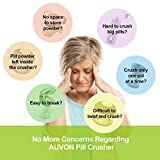 AUVON Pill Crusher, 2nd Gen iMedassist Pill Grinder (Easy to Clean, Easy to Use), Medicine Grinder with 304 Stainless Steel and Non-Slip Base for Pills and Medication