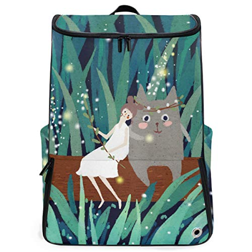 S Husky Girl Sit Wood With Totoro Sports Travel Backpack with Shoe Compartment Forest Firefly Light Shining Fairy Tale Fantasy Multipurpose Hiking Daypacks Outdoor 3-Day Unisex 2040345 -