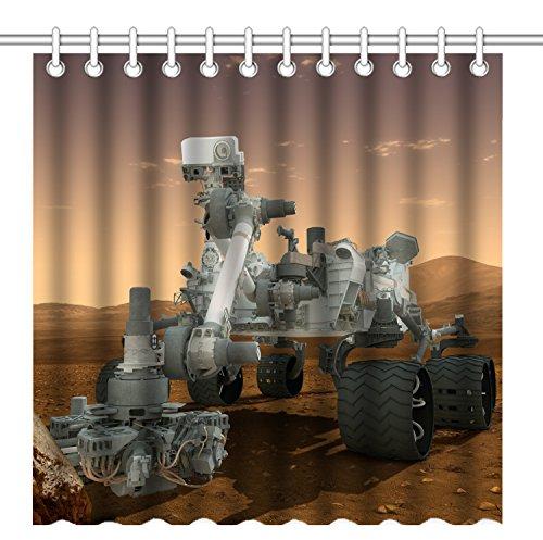 Wknoon 72 x 72 Inch Shower Curtain,The Mars Curiosity Rover on The Moon,Waterproof Polyester Fabric Decorative Bathroom Bath Curtains Set ()