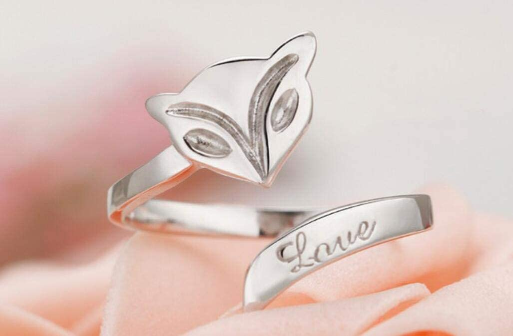 Tuersuer Ideal Gift White Copper Plated Silver Ring Female Adjustable Fox Pattern Ring