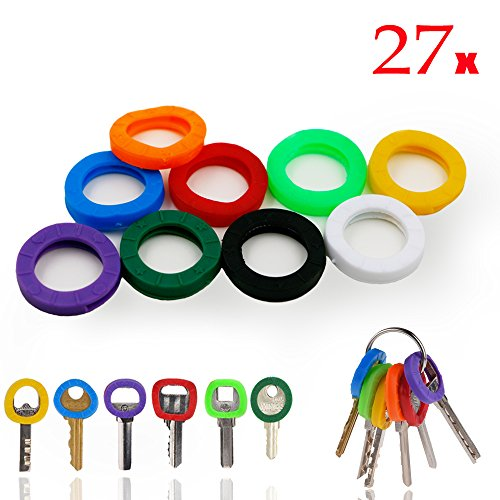 InterUS Key Caps Tags, 27 Pcs, Silicone Key cap Sleeve Rings Key Identifier Rings Label ID Perfect Coding System To Identify Your Key in 9 Different Colors (Key Top Labels)