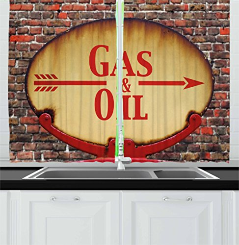2 Retro Signs (Man Cave Decor Kitchen Curtains by Ambesonne, A Rusty Old Retro Arrow Sign With Text Gas and Oil Fuel Station, Window Drapes 2 Panel Set for Kitchen Cafe, 55 W X 39 L Inches, Light Brown Red Brown)