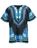 KlubKool Dashiki Shirt Tribal African Caftan Boho Unisex Top Shirt (Black/Light Blue,3X-Large)