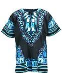 KlubKool Dashiki Shirt Tribal African Caftan Boho Unisex Top Shirt (Black/Light Blue,XX-Large)