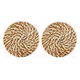 Set Of 2 Natural Round Rattan Placemats Insulation Pad,Natural Color,16 CM