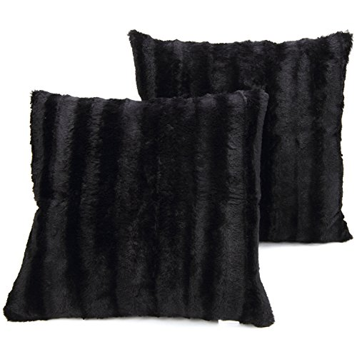 Cheer Collection Set of 2 Decorative Throw Pillows - Reversible Faux Fur to Microplush Accent Pillows by 18