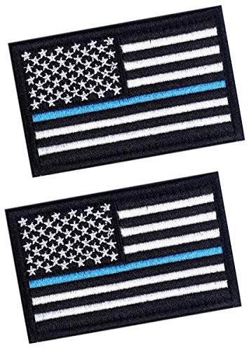 - 2 PCS Tactical Patches of USA US American Flag Law Enforcement Thin Blue Line, with Hook and Loop for Backpacks Caps Hats Jackets Pants, Military Army Uniform Emblems, Size 3x2 Inches