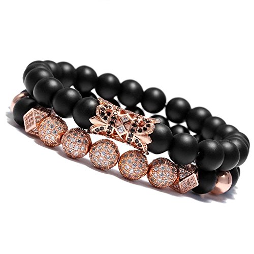 - Meangel 8mm Charm Beads Bracelet for Men Women Black/Rosegold Onyx Natural Stone Beads 7 5