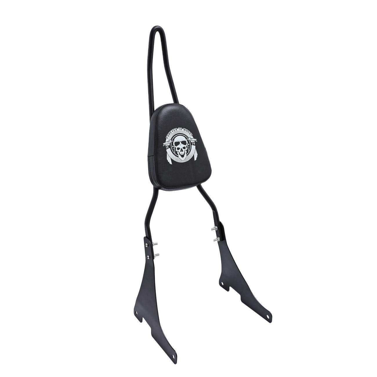 INNOGLOW Motorcycle Black Detachable Rear Passenger Sissy Bar Upright Backrest W/Cushion Pad for Harley Sportster XL 883 1200 2004-Up