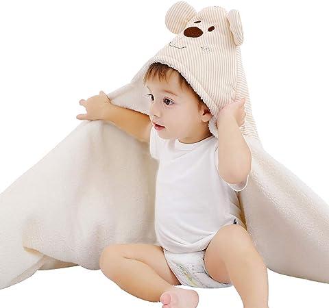 Toalla con Capucha para bebé, Manta de Forro Polar, Toalla de baño para recién Nacido, Toalla de algodón y toallitas para Cochecito de bebé, Manta de baño Super Gruesa y Suave Absorbente: