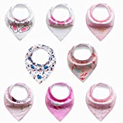 Baby's Bandana Bib Teething Bib with Cute Designs, 8-Pack, Random Designs/Colors