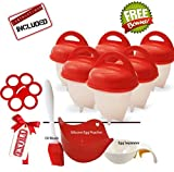Egg cooker hard and soft silicone egg poachers, hard boiled eggs without shell egg cups AS SEEN ON TV (6 pieces) No shell plus bonus gift by Empeiro