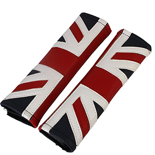 Martin Flag Belt - Atonix Blue Union Jack United Kingdom Flag Sythentic Leather Driver Passenger Seat Belt Pad for Mini Cooper