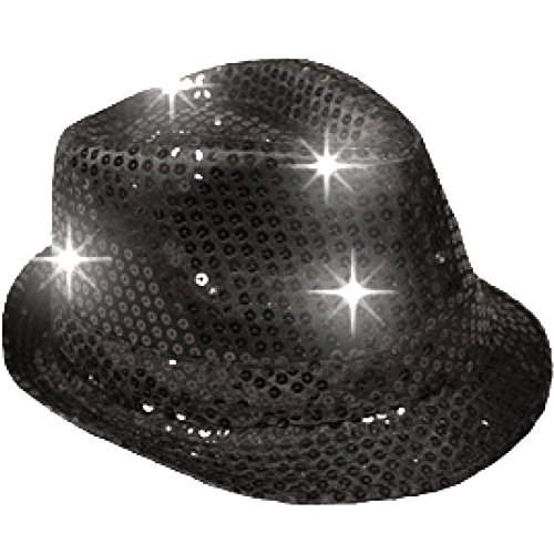 blinkee LED Flashing Fedora Hat with Black Sequins by