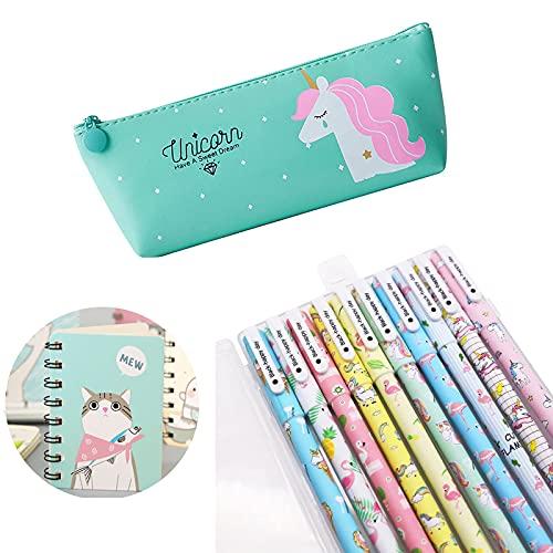 Unicorno Penne,SmileStar 10pcs Unicorno Penne di Colori e 1pcs Astuccio e 1pcs Unicorno Taccuino per Matita Unicorno per Amanti dei Fenicotteri e Degli Unicorno, un Ottimo Regalo x una Bambina (verde)