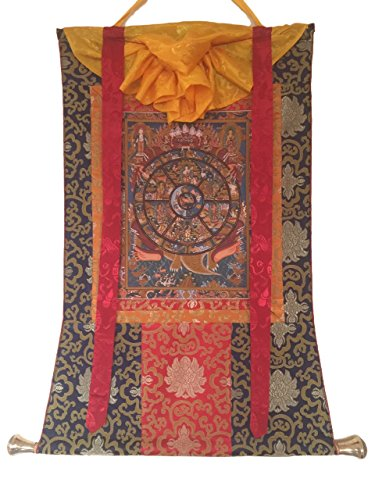 HANDS OF TIBET HAND PAINTED WHEEL OF LIFE THANGKA PAINTING WITH SILK BROCADE ()