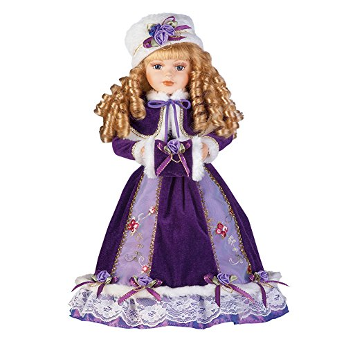 Collections Etc Women's Alexandra Antique Replica Victorian Winter Porcelain Doll w/Gift Box - 16