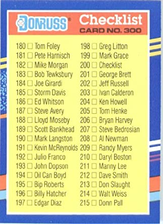 Amazoncom 1991 Donruss Baseball Card 300 Checklist Collectibles