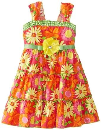 Youngland Girls 2-6X Daisy Print Sundress, Coral/Yellow, 5