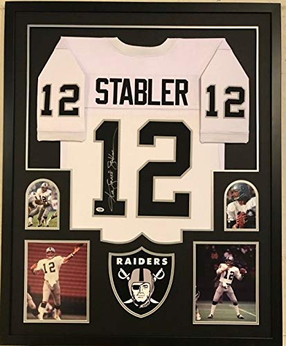 FRAMED KEN STABLER AUTOGRAPHED SIGNED INSCRIBED OAKLAND RAIDERS JERSEY PSA COA