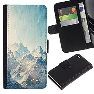 Protector de cuero de la PU de la cubierta del estilo de la carpeta del tirón BY RAYDREAMMM - Apple Iphone 4 / 4S - Nieve Espacio Montaña