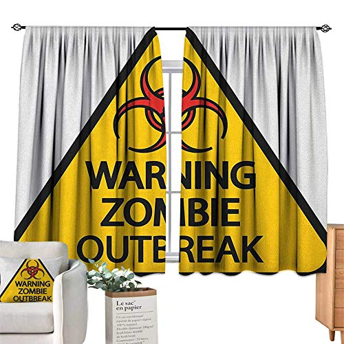 ParadiseDecor Zombie,Bedroom Curtains Warning The Zombie Outbreak Sign Cemetery Infection Halloween Graphic Window Drapes for Bedroom W72 x G63]()