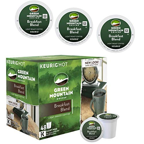 Keurig Green Mountain Breakfast Blend K-Cup Pods (2 Pack of 48 Count), Delicious Light-Roast Coffee
