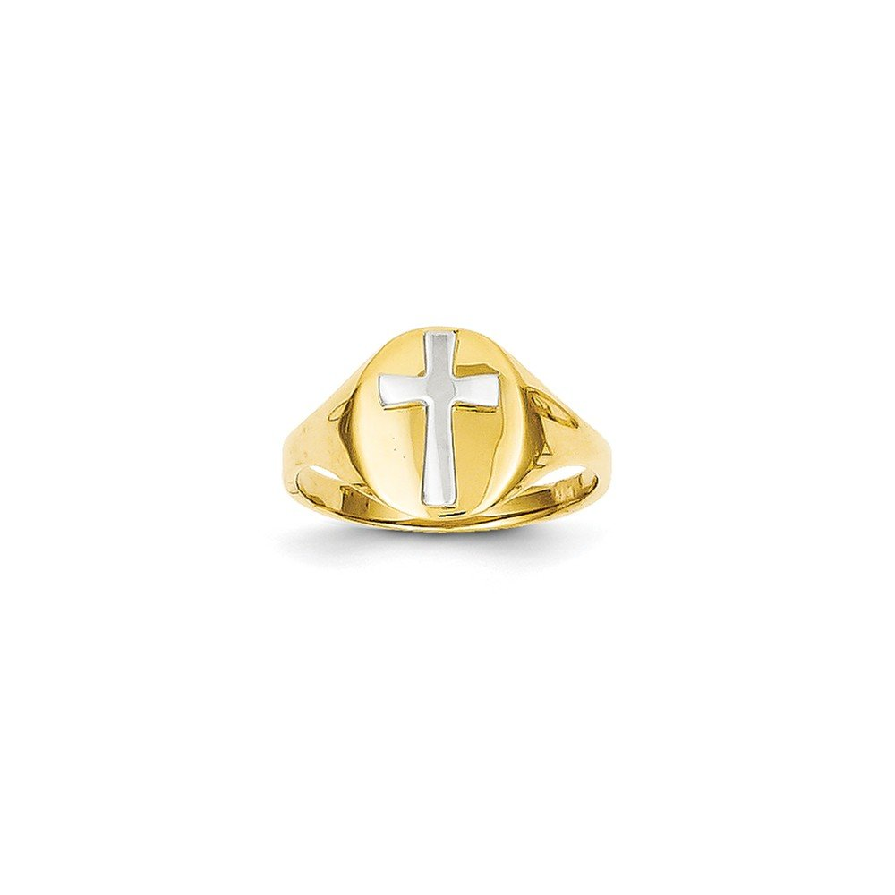 ICE CARATS 14k Yellow Gold Cross Religious Baby Band Ring Size 4.00 Fine Jewelry Gift Set For Women Heart by ICE CARATS (Image #3)