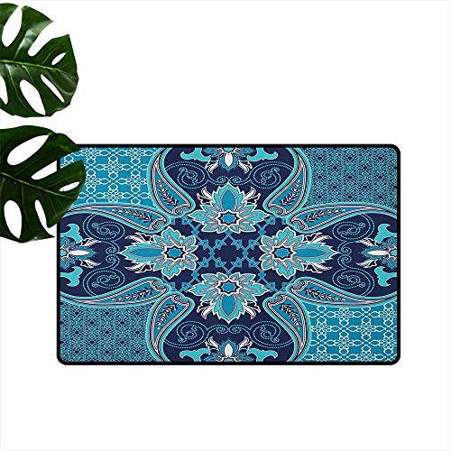 - Navy Blue,Kitchen Rugs Floral Paisley Design Bohemian Style Vintage Flower Petal Pattern 31