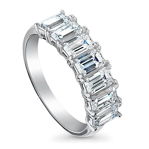 BERRICLE Rhodium Plated Sterling Silver 7-Stone Wedding Half Eternity Band Ring Made with Swarovski Zirconia Emerald Cut Size 7.5
