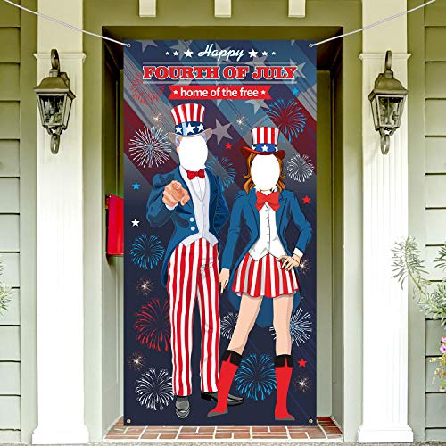 - Patriotic Fourth of July Uncle Sam Photo Door Banner Photo Backdrop Props , Large Fabric Photo Door Banner for 4th of July Party Favors Supplies Decorations Patriotic Game Supplies,6x3 ft