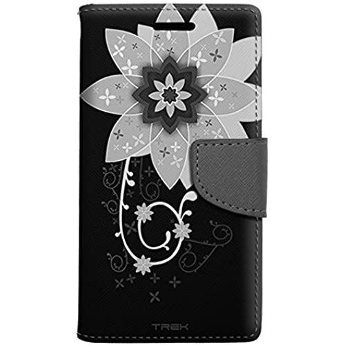 Samsung Galaxy S7 Edge Wallet Case - White Big Flower on Black Case Sales